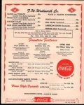 1950's menu from F W Woolworth-down town Main Street